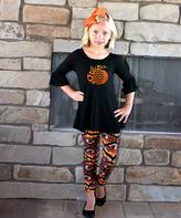 Beary Basics Black Pumpkin Bell-Sleeve Tunic & Leggings - Toddler & Girls