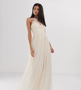 Little Mistress Tall tulle maxi dress with lace detail