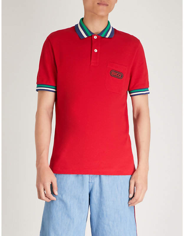 Gucci Logo-print cotton-piqué polo shirt
