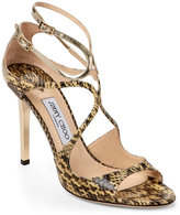 Jimmy Choo Lang Snake Strappy High Heel Sandals