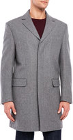 Hart Schaffner Marx Light Grey Herringbone Wool Overcoat