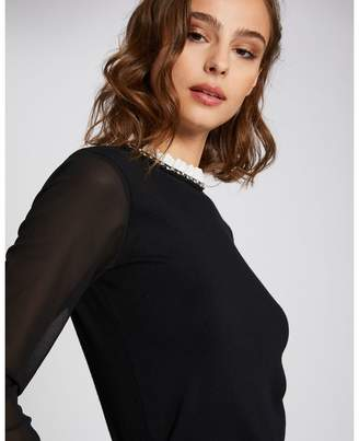 Morgan Sheer Sleeve Fine Knit Jumper with Jewel Neck