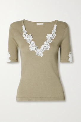 Chloé Guipure Lace-trimmed Ribbed Cotton-jersey Sweater - Taupe