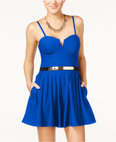 Material Girl Juniors' Sleeveless Belted Romper, Only at Macy's
