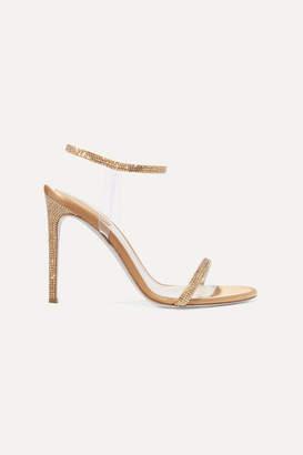 Rene Caovilla Crystal-embellished Satin And Pvc Sandals - Gold