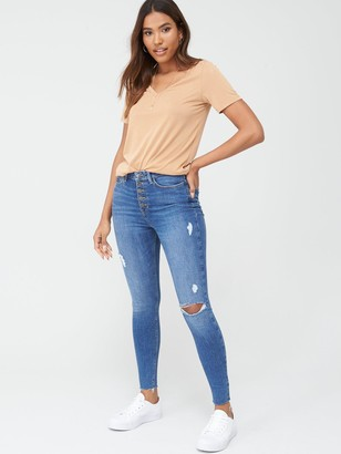 Very Ella High Waist Button Fly Skinny Jean - Mid Wash
