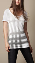 Spray Check Cotton T-Shirt