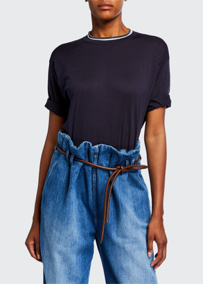 Brunello Cucinelli Monili-Beaded Short-Sleeve Cotton Sweater