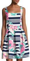 Neiman Marcus Square-Neck Floral-Print Scuba Dress, Multi