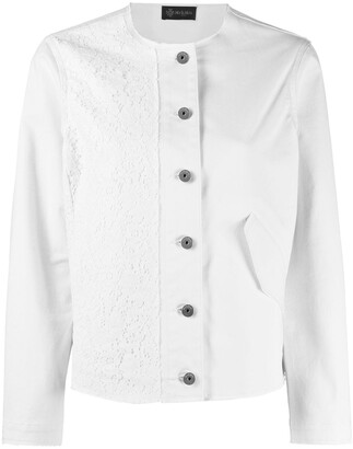 Mr & Mrs Italy Embroidered Panel Round Neck Jacket