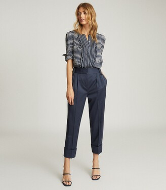 Reiss Rebecca - Printed Blouse in Navy
