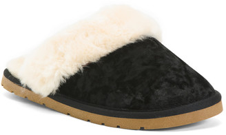 Suede Velvet Slippers With Faux Fur Lining