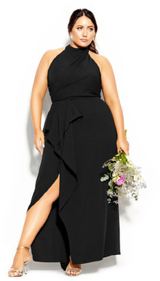 City Chic Halter Flair Maxi Dress - black