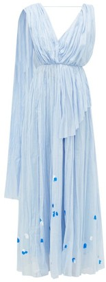 Vika Gazinskaya Painted Gathered Cotton-voile Maxi Dress - Blue Print