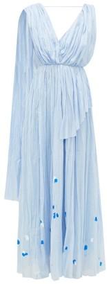 Vika Gazinskaya Painted Gathered Cotton-voile Maxi Dress - Womens - Blue Print