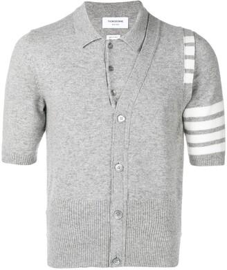 Thom Browne 4-bar 2-in-1 Cashmere Half-vest Polo