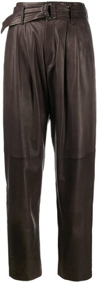 P.A.R.O.S.H. High-Waisted Leather Trousers