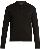 Lanvin Contrast-sleeve silk-blend knit polo shirt
