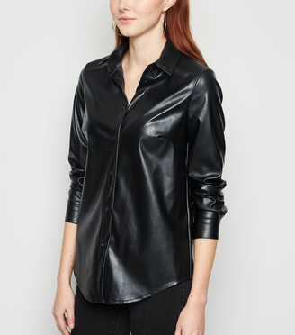 New Look Leather-Look Long Sleeve Shirt