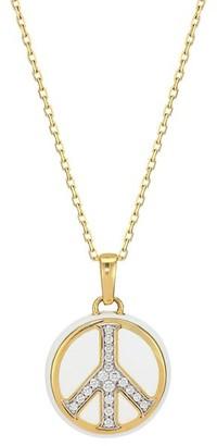 David Webb Motif 18K Yellow Gold, White Enamel & Diamond Peace Sign Pendant Necklace