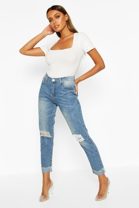 boohoo Mid Rise Marble Wash Mom Jeans