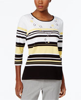 Alfred Dunner City Life Embellished Striped Top