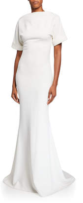 Badgley Mischka High-Neck Low-Back Roll-Sleeve Crepe Mermaid Gown
