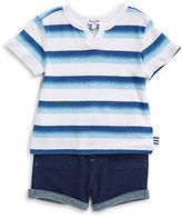 Splendid Two-Piece Ombre Stripe Tee and Shorts Set