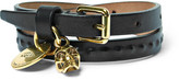 Alexander McQueen Leather And Gold-tone Wrap Bracelet - Black