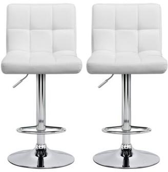 Orren Ellis Estela PU Leather Adjustable Height Swivel Bar Stool Upholstery: White