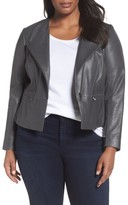 Sejour Plus Size Women's Leather Collarless Jacket