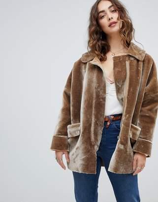 Free People Lindsay Faux Sherpa coat-Grey