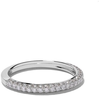 De Beers 18kt white gold DB Darling half pave diamond band