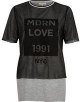River Island Womens Grey layered mesh boyfriend T-shirt