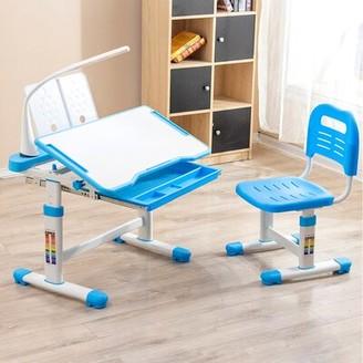 "Isabelle & MaxTM Micah Study 20.47"" Art Desk and Chair Set Isabelle & Max Color: Blue"