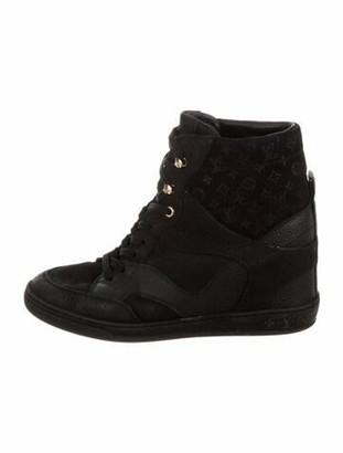 Louis Vuitton Monogram Suede Wedge Sneakers Black