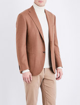 Corneliani Leader tailored-fit camel and wool-blend jacket