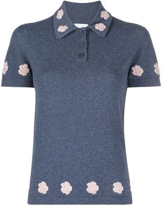 Barrie Floral Croched Knitted Polo