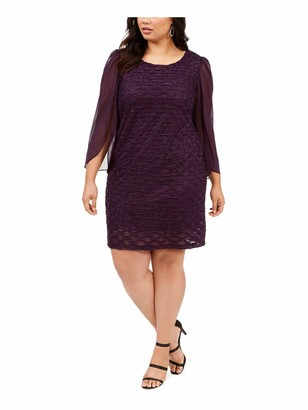 Connected Apparel Womens Purple Frayed Patterned Long Sleeve Jewel Neck Above The Knee Sheath Evening Dress Plus US Size: 20W