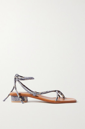 LOQ Ara Snake-effect Leather Sandals - Snake print
