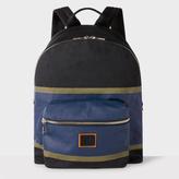 Men's Black And Blue Cotton Backpack