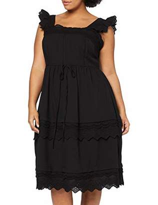 LOST INK PLUS Women's Fit and Flare Dress with Broderie Trim (Black 0001), (Size:/2XL)