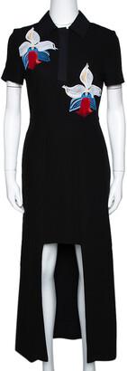 Fendi Black Floral Embroidered Crepe Cutout Detail Dress S