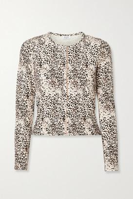 Leset Jamie Ribbed Leopard-print Stretch-modal Cardigan - Leopard print