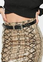 Missguided Black Studded Silver Western Buckle Belt, Black