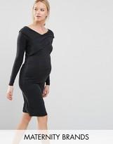 Mama Licious Mama.licious Mamalicious Long Sleeve Bardot Bodycon Dress