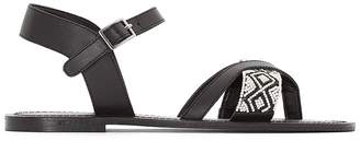 La Redoute Collections Leather Toe Post Sandals with Beaded Detail