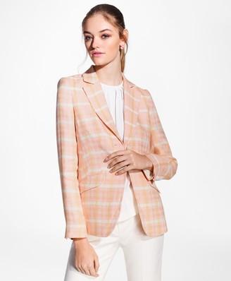 Brooks Brothers Madras Plaid Linen Jacket