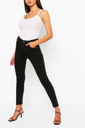 boohoo Denim Distressed Knee Rib Skinny Jean
