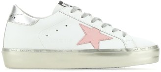 Golden Goose Hi Star Leather Upper Nabuk Star Laminated Heel Sparkle